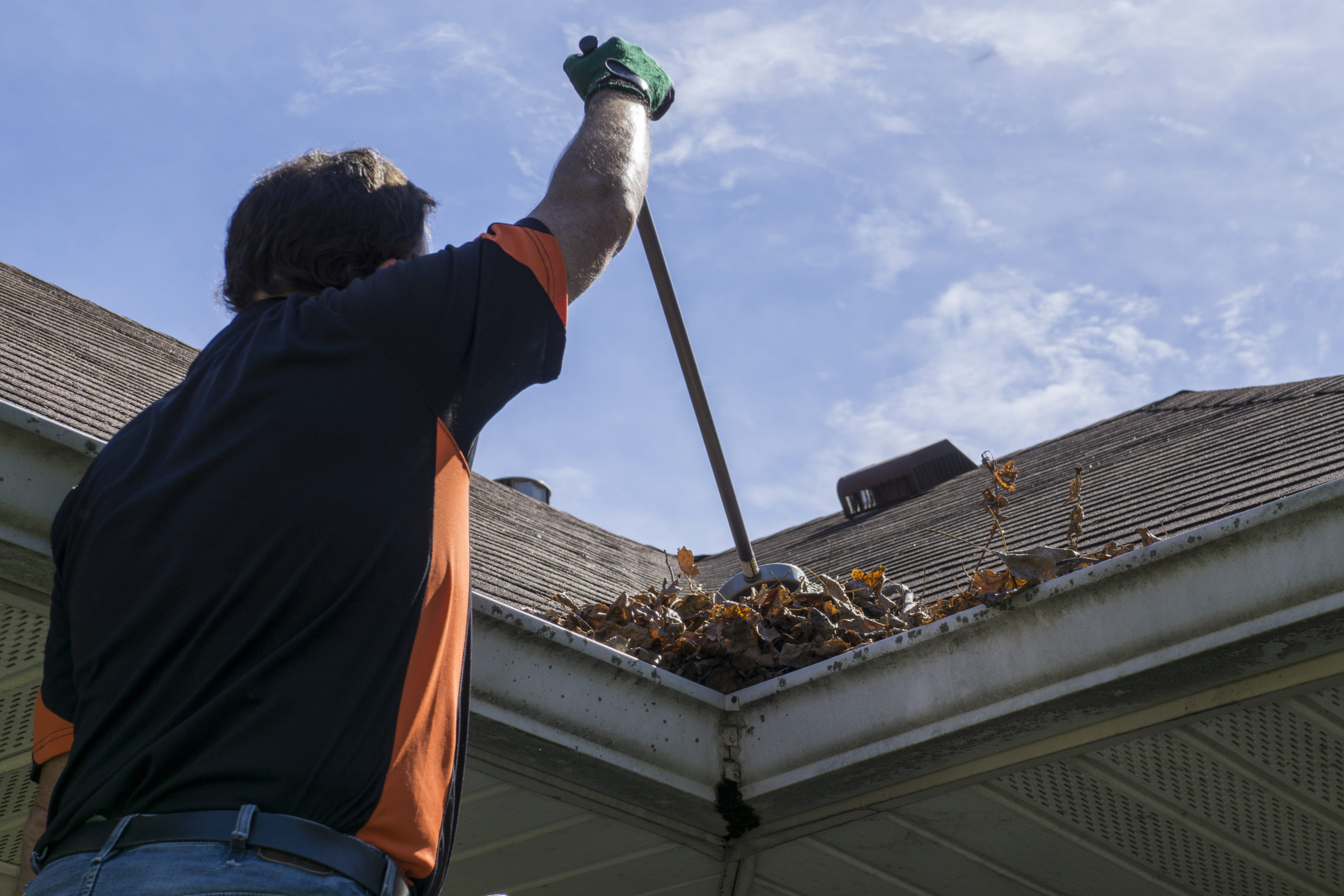 max cleaning leaves out of gutter