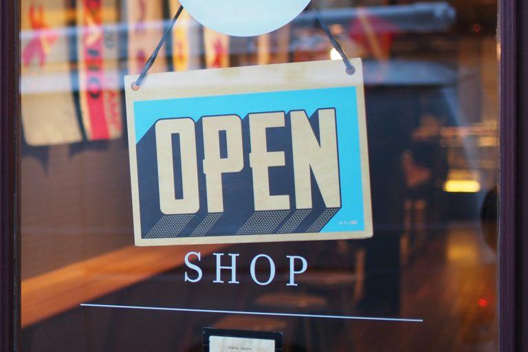 shop door with open sign